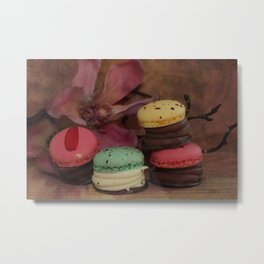 Shabby French chic - Macaroons and Magnolia  Metal Print