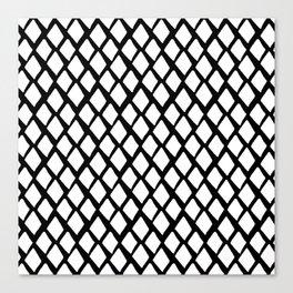 Rhombus White And Black Canvas Print