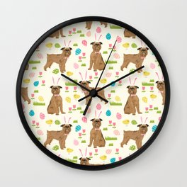 Brussels Griffon cute easter dog pattern cute pet portrait dog art dog breeds by pet friendly Wall Clock