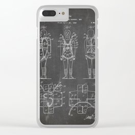 Parachute Pack Patent - Sky Diving Art - Black Chalkboard Clear iPhone Case