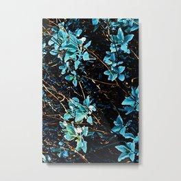 Modern Blue Forest Leaves Metal Print