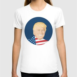 Portrait of Trump with US flag T-shirt