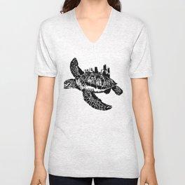 Sea Turtle City Unisex V-Neck