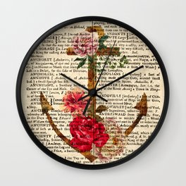 Vintage Anchor with Flowers Dictionary Art Wall Clock