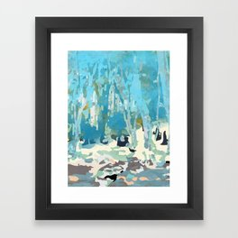 abstract forest in pastels Framed Art Print