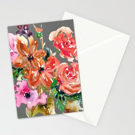 Coral Rose Bouquet Stationery Cards