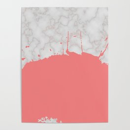 Splashed Marble - Coral Poster