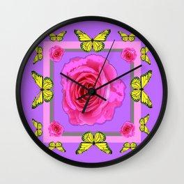 Lilac Art yellow Butterflies Rose Design Wall Clock