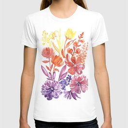 Floral abstract and colorful watercolor illustration T-shirt
