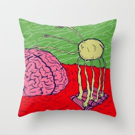 Bug in the brain Throw Pillow