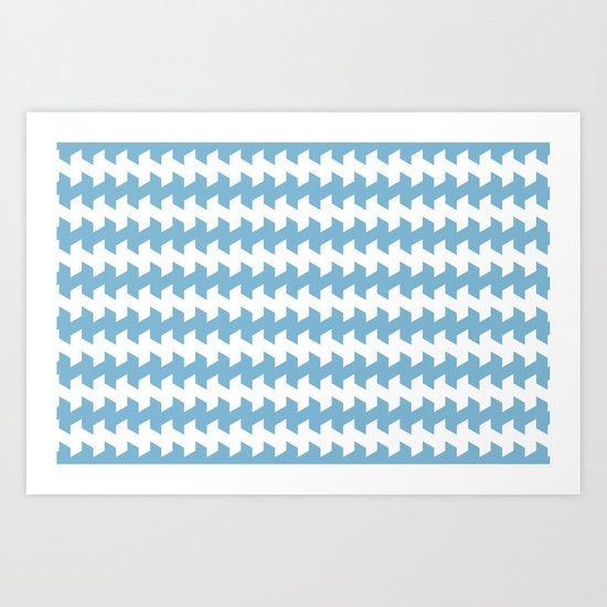 jaggered and staggered in dusk blue Art Print