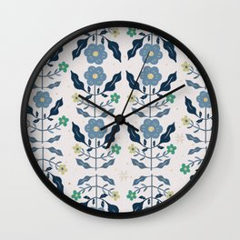 Blue Holiday Flower pattern Wall Clock