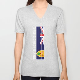 turks and caicos islands Flag Colors in Stripes Unisex V-Neck