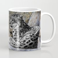 snow leopard Mugs featuring Snow Leopard by Jennifer Rose Cotts Photography