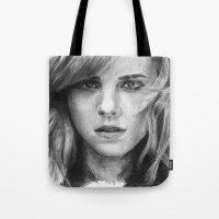 emma watson Tote Bags featuring Emma Watson by xDontStopMeNow