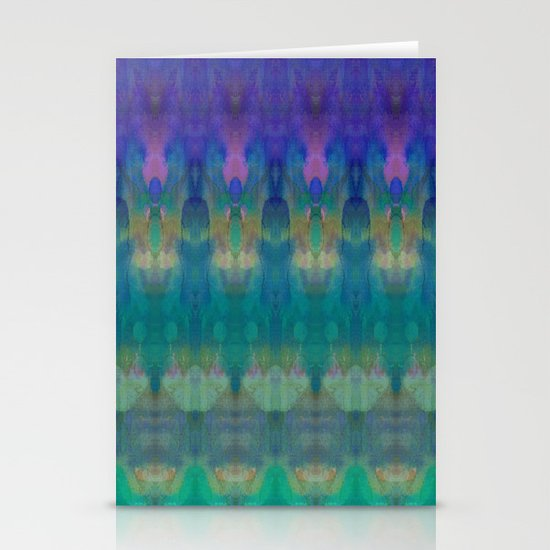 Tribal Diamonds Watercolour Blue Stationery Cards