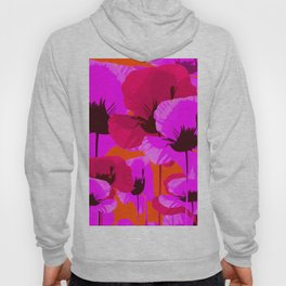 Pink And Red Poppies On A Orange Background - Summer Juicy Color Palette - Retro Mood Hoody