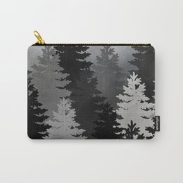 Pine Trees Black and White Carry-All Pouch