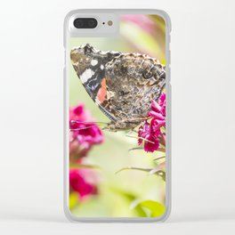 Butterfly Vanessa atalanta feeding on red flowers Clear iPhone Case