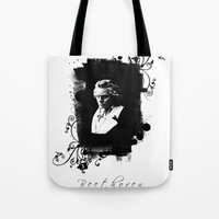 beethoven Tote Bags featuring Beethoven by viva la revolucion