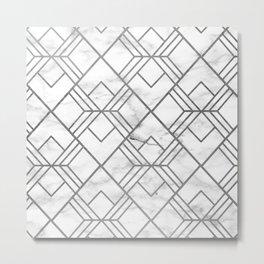 Geometrical white gray faux silver marble Metal Print