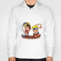 luffy Hoodies featuring Luffy And Naruto eating Ramen by mannynunez