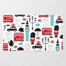 London icons illustration pattern print Rug