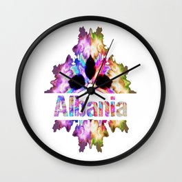 Albania gift tie dye watercolor  Wall Clock