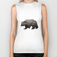 grey Biker Tanks featuring The Kodiak Brown Bear by Davies Babies