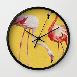 Bold Flamingo Caribbean and Tropical inspired design Wall Clock