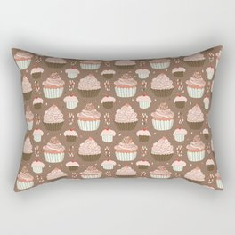 Elegant Cupcakes Food Vector Pattern Seamless Rectangular Pillow