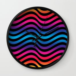 Wiggly Vibrant Multicolour Lines Wall Clock