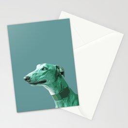 Green Greyhound. Pop Art portrait. Stationery Cards