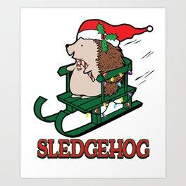 Sledgehog Christmas Cute Hedgehog Sled Holiday  graphic Art Print