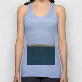 Deep Green, Gold and White Color Block Unisex Tanktop