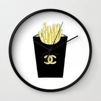 french fries Wall Clocks featuring French fries by flowerstyle