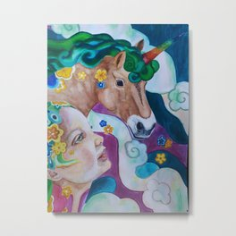 Milly and the Unicorn Metal Print