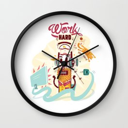 Work Hard Play Hard Wall Clock