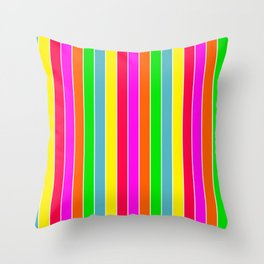 Neon Hawaiian Rainbow Deck Chair Stripes Throw Pillow