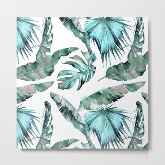 Tropical Palm Leaves Blue Green on White Metal Print