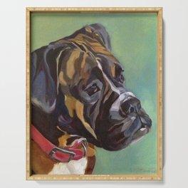 Boxer Dog Keeley Pet Portrait Serving Tray