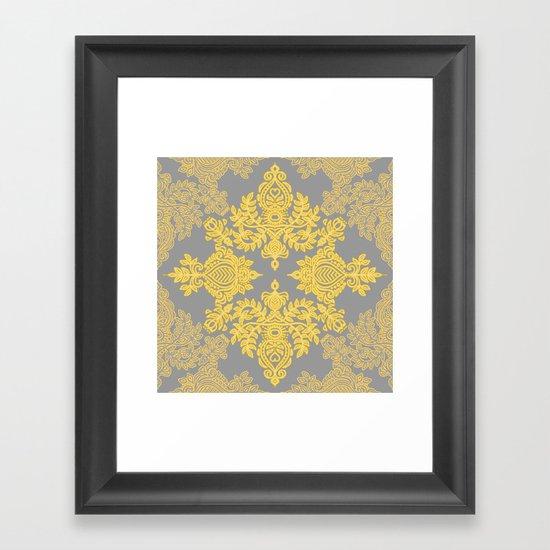 Golden Folk - doodle pattern in yellow & grey Framed Art Print