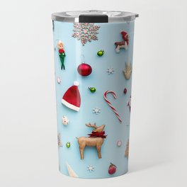 Collection of Christmas objects viewed from above Travel Mug