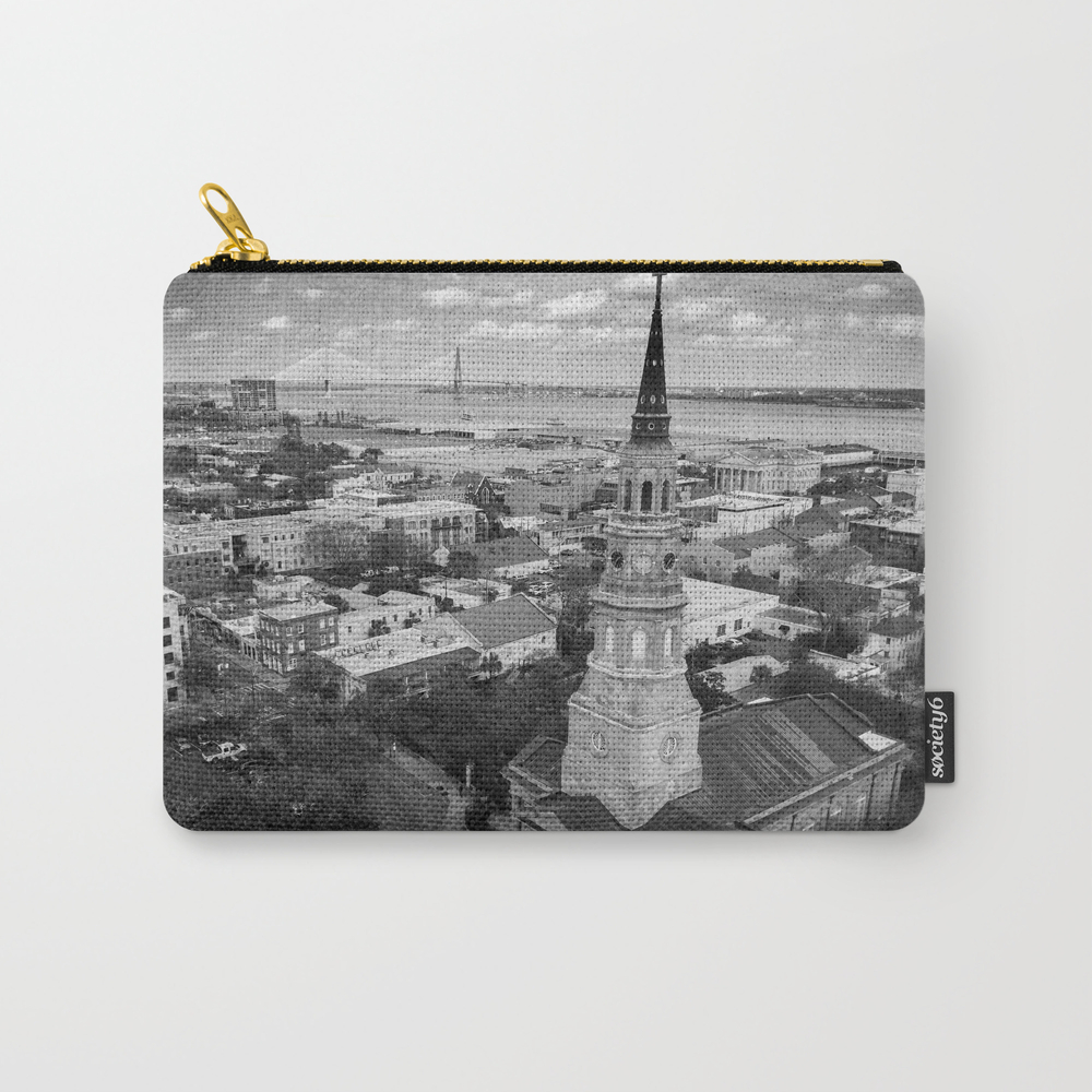 St Philips Black And White Carry-all Pouch by Wanderthesky CAP7894319