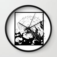 moby dick Wall Clocks featuring Moby Dick by JoJo Seames