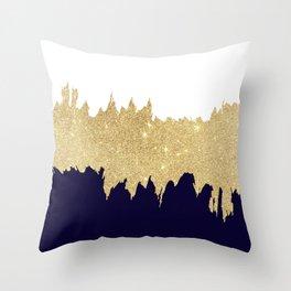 Modern navy blue white faux gold glitter brushstrokes Throw Pillow