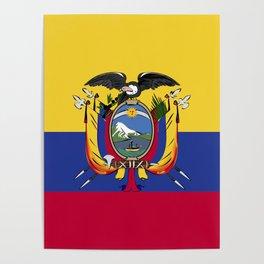 Ecuador flag emblem Poster