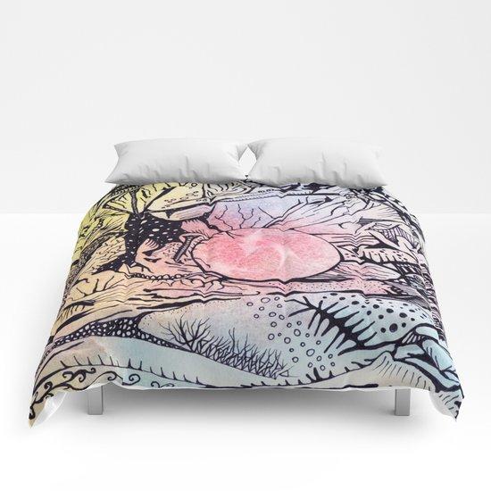 Zentangled alien world Comforters