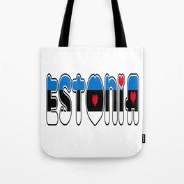 Estonia Font with Estonian Flag Tote Bag