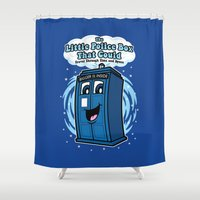 police Shower Curtains featuring The Little Police Box by Mike Handy Art